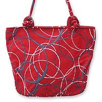 Cotton shoulder bag, 'Whimsical in Red' 162881
