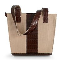 Leather and canvas handbag, 'Harmony of Brown' 181485