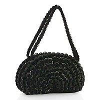 Soda pop-top handbag, 'Rustic Black Fan' 181493