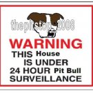 "Pitbull T-Shirt  ""Warning Pit Bull Serveillance"""