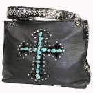 Black Turqouise Cross Purse