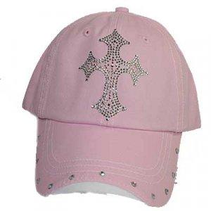 Pink Rhinestone Cross Ball Cap