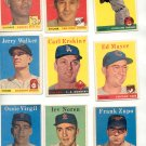 Lot of Seven 1958 Baseball Cards
