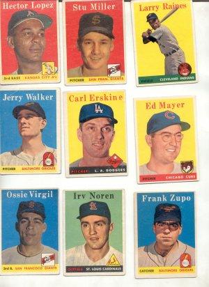 Lot of Seven 1958 Baseball Cards