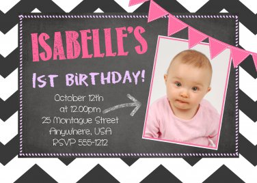Chalkboard 1st Birthday Invitations / First Birthday Invitations / Printable Invite