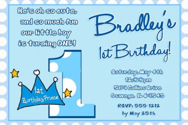 Lil Prince 1st Birthday Invitation, Little Prince Crown 1st Birthday