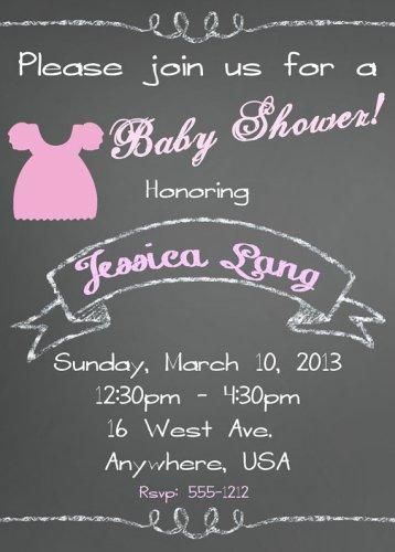 Baby Shower Invitation -Vintage Style Chalkboard Design -PRINTABLE Invitation