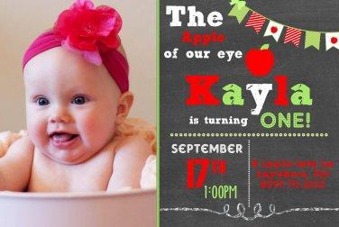 Apple of my Eye Theme Birthday Invitation, Chalkboard Style