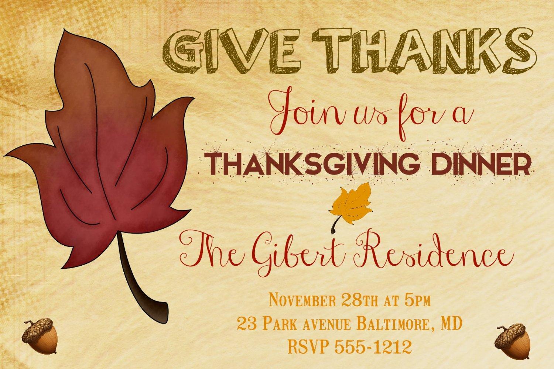 Thanksgiving Dinner Invitation Thanksgiving Feast Autumn Invitation