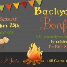 Bonfire Invitation, Autumn Invitation, Fall, Bonfire, Backyard Party Invitation, Digital