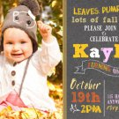 Pumpkin Birthday Invitations, Fall Chalkboard Invitation Birthday, Autumn