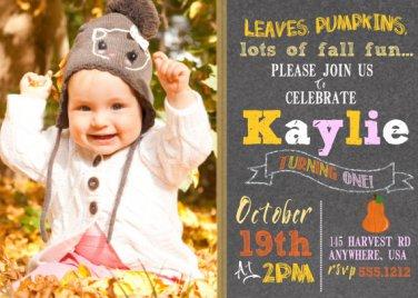 Pumpkin Birthday Invitations, Fall Chalkboard Invitation Birthday, Autumn