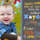Pumkin Birthday Invitations, Autumn Fall Harvest Theme Birthday