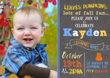 Pumkin Birthday Invitations, Autumn Fall Harvest Theme Birthday
