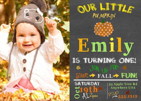 Pumpkin Birthday Invitations, Fall Chalkboard Invitation Birthday