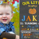 Pumpkin Birthday Invitations, Fall Chalkboard Invitation Birthday