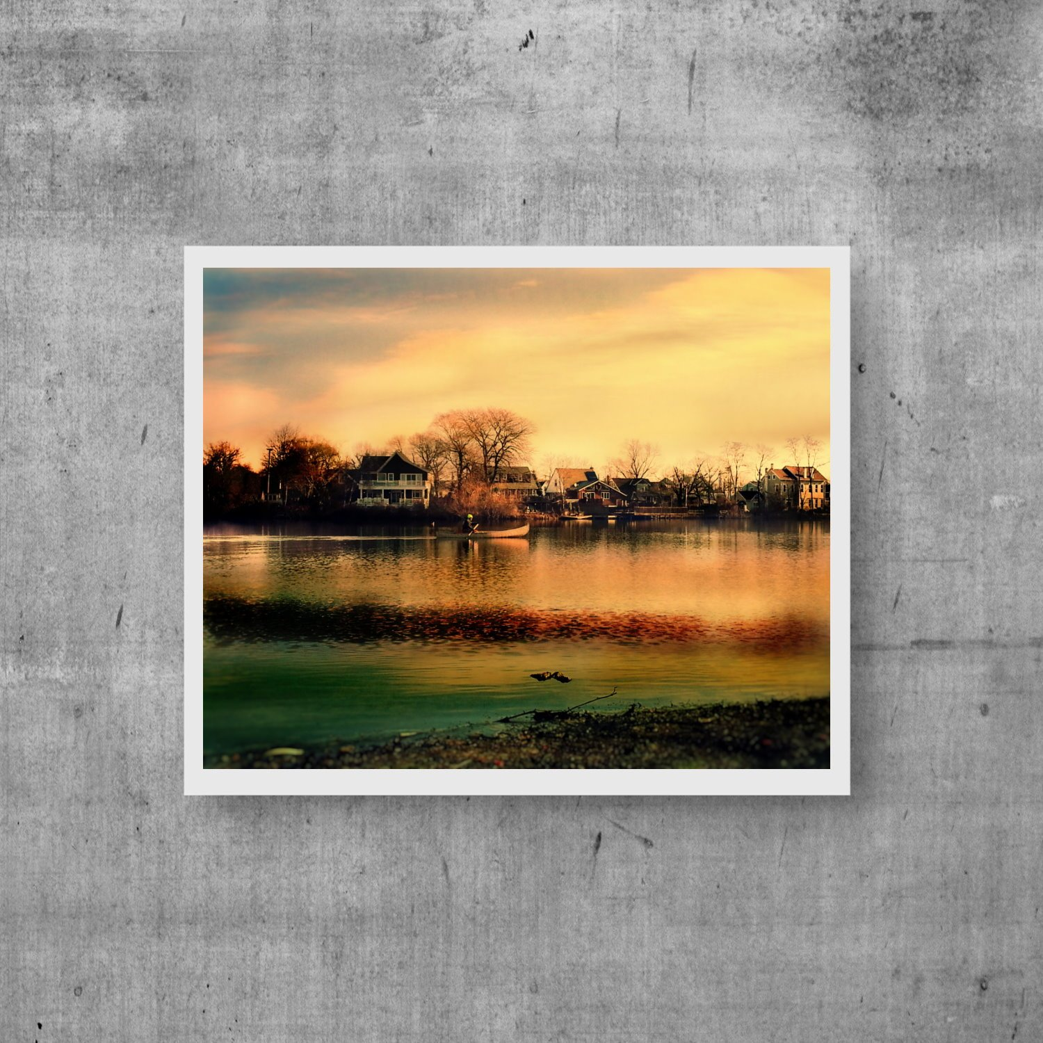Lake Wall Decor, Artistic Painting Effect, Lake Canoe Digital Photo Print