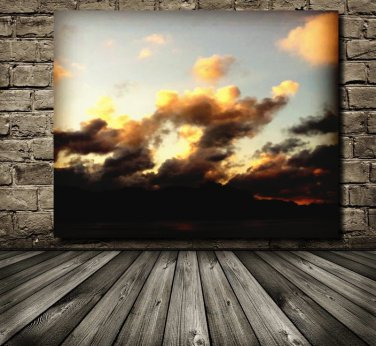 Clouds, Sunset Wall Art,Printable Art, Oil Paint Effect Added To Photo, Printable Photography Clouds