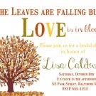 Autumn Bridal Shower Invitation, Autumn Invitation, Love is in Bloom Invitation