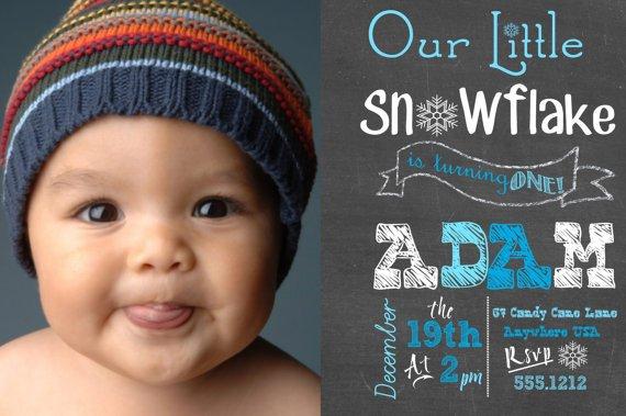 Little Snowflake 1st Birthday, Winter Birthday Party Invitations, Boys Chalkboard Invitation