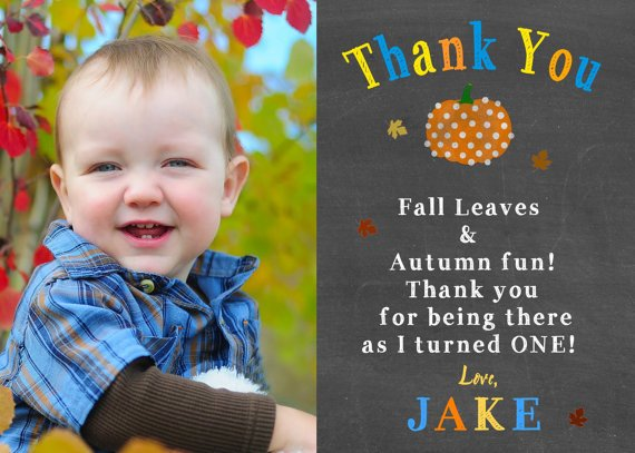PUMPKIN FIRST BIRTHDAY Chalkboard Thank You Cards, Autumn Thank You Cards