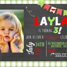 Watermelon INVITATION, Chalkboard Birthday Party, First Birthday, Vintage