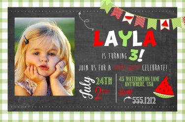 Watermelon INVITATION, Chalkboard Birthday Party, First Birthday, Vintage