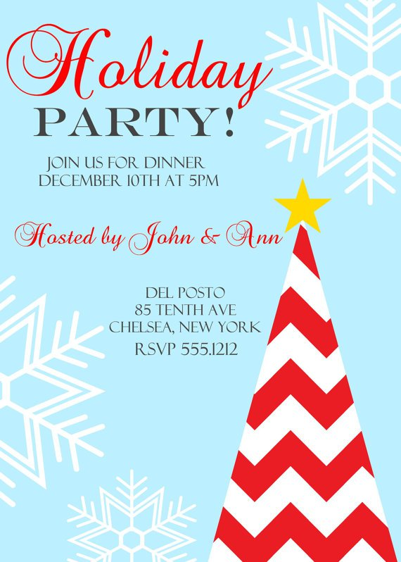 Christmas Dinner Party Invitation, Holiday Dinner Party, Company Christmas Party