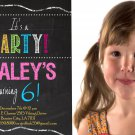 Girls Birthday Invitations. Chalkboard Style, DIY Birthday Invitations