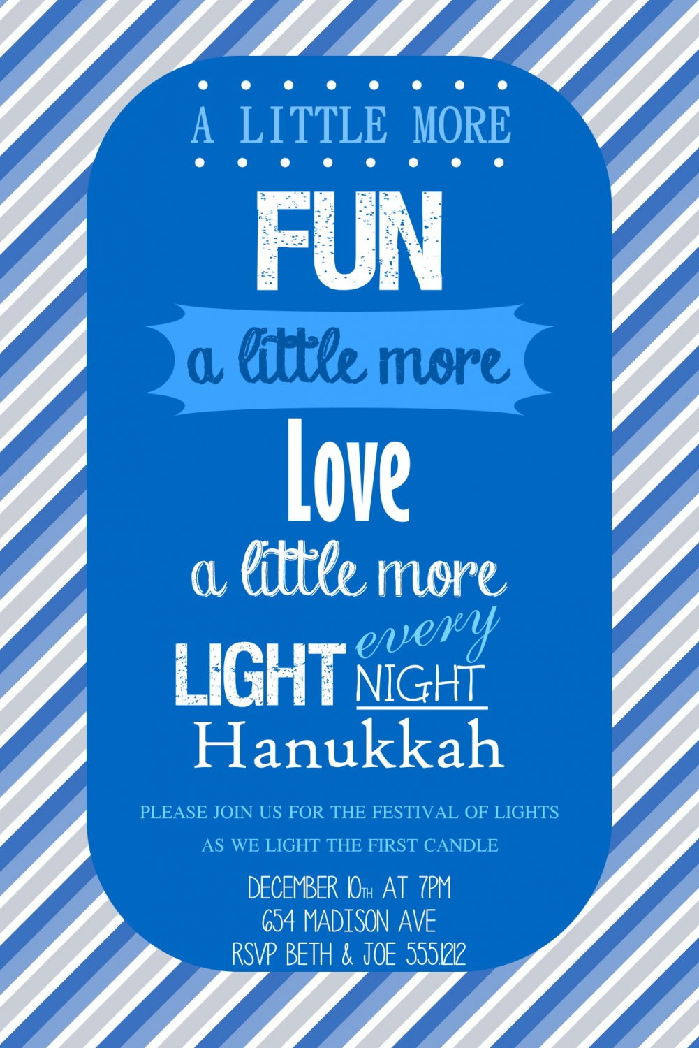 Hanukkah Invitations, Hanukkah Dinner Party, Hanukkah DYI Invites