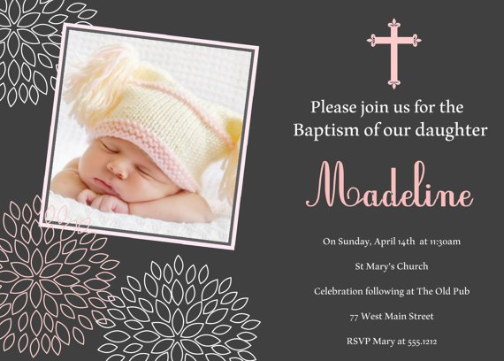 Girls Baptism Invitation, Christening Invitation, Naming Day