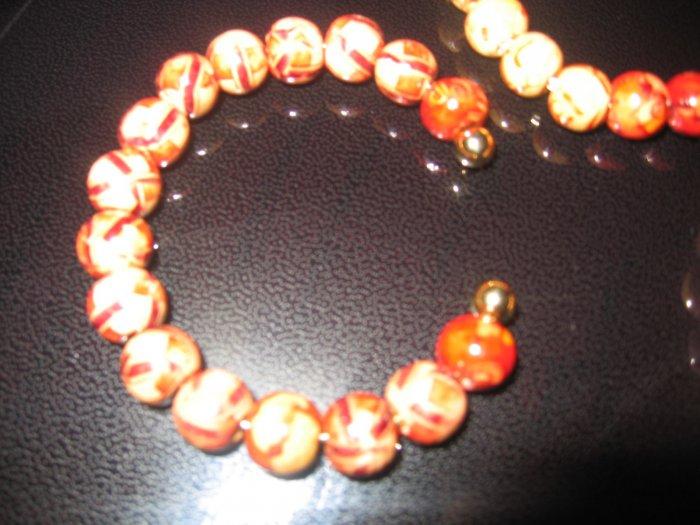 Patterned Wood bead Cuff Bracelet