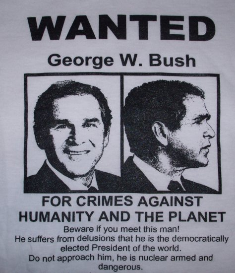 WANTED George W. Bush Adult Size XXXL T-Shirt
