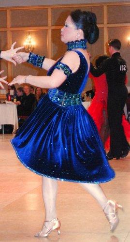 Sapphire velvet Latin dress