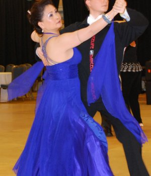 Deep Violet Silk chiffon Ballroom Dress