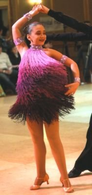 Purple Ombre Fringe Competition Latin Dress