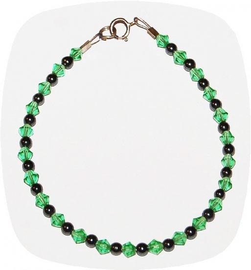 Green Crystal & Hematite Bracelet