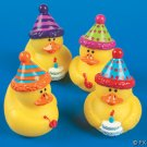 Set of 4 Vinyl Happy Birthday Rubber Ducks