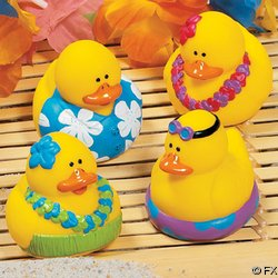 Set of 4 Vinyl Luau Party Rubber Ducks