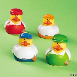 Set of 4 Vinyl Golfer Rubber Ducks