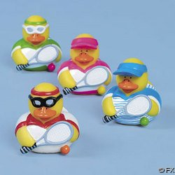 Set of 4 Vinyl Tennis Player  Rubber Ducks