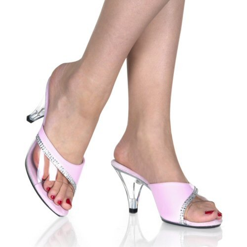 Women's Clear Heel Shoes with Clear and Colored Rhinestone Accented Strap