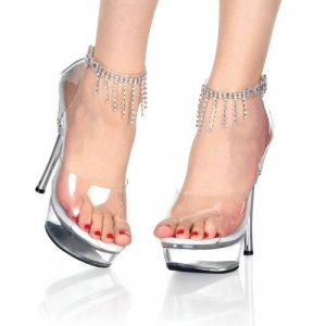 Women's Shoes with Rhinestone Fringe Ankle Strap