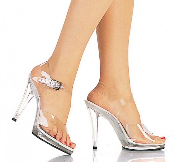 Women's Heeled Sandals with Clear Ankle Strap
