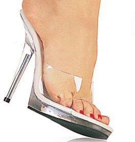 Women's Clear Stiletto Heel with Single Toe Strap.