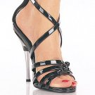 "Entice-5"" heel, buckled criss cross ankle strap"