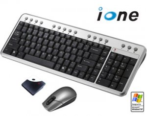 iONE WIRELESS KEYBOARD AND OPTICAL MOUSE