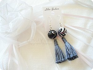 Swirly Porcelin Ball Tassel Earrings