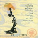 Christie's A European Collection of Art Nouveau and Art Deco Auction Catalog June 1998