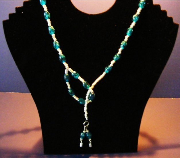 Handcrafted Lariat glass beaded necklace